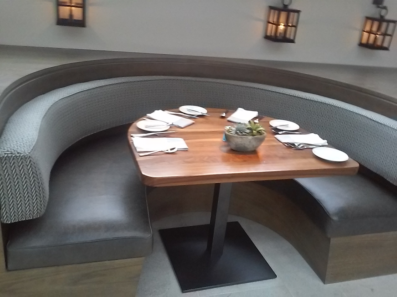 Reupholstered booth at Four Seasons Restaurant.